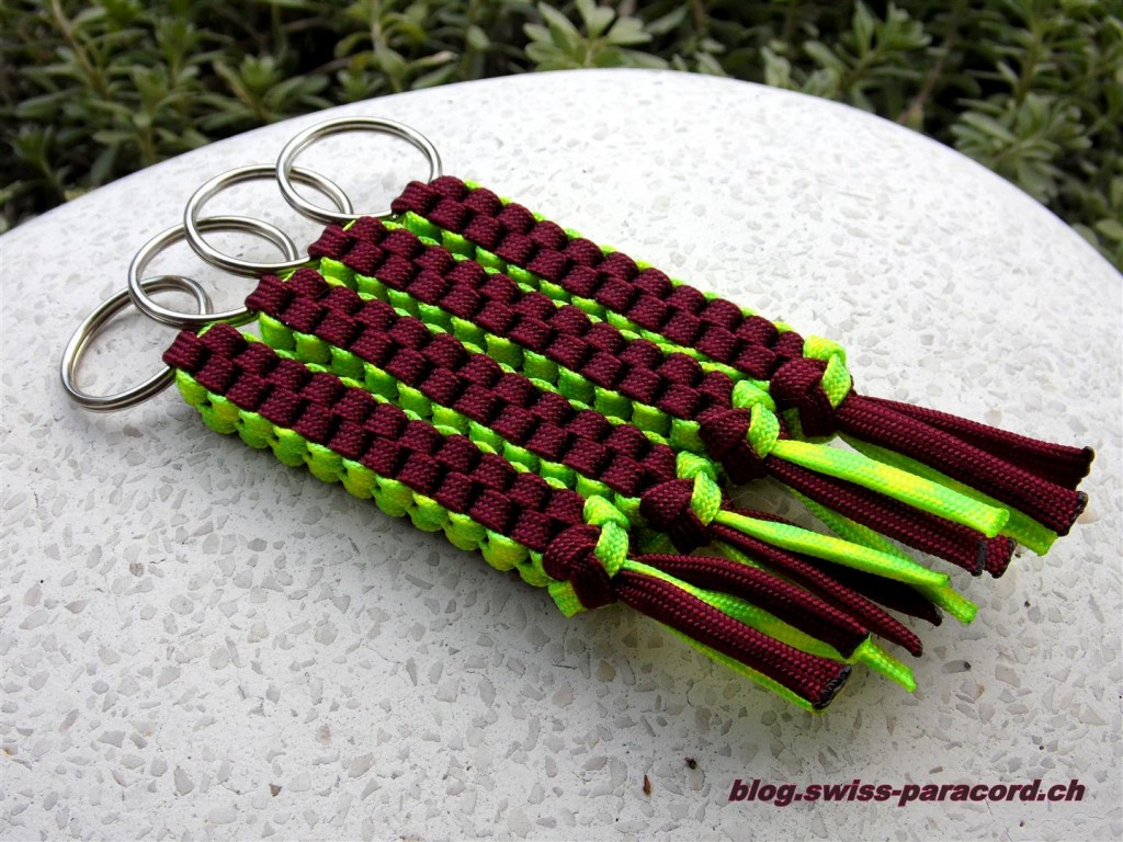"Lanyard in ""burgundy"" & ""day-glow"""